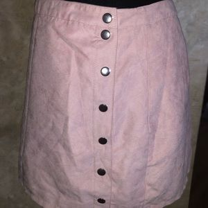 light pink suede skirt